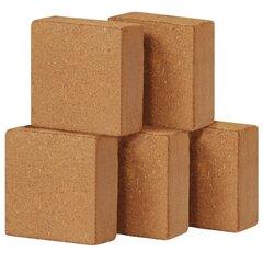 vidaXL kokosa šķiedras bloki, 5 gab., 5 kg, 30x30x10 cm cena un informācija | Augu kopšanas līdzekļi | 220.lv
